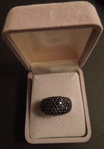 """Sterling Silver Black Spinel Pave Band Ring, Size 6 3/4"""", 5.3g - $35.63"""