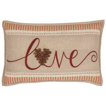 """LOVE"" Toss Pillow Red & Biege 14""x 22"" Comes Filled - £18.85 GBP"
