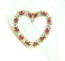 Roman Signed Pink Spinel Diamond Chip Heart Sterling Silver Gold Vermeil... - $24.74