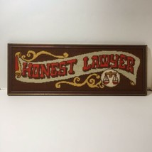 """Honest Lawyer Finished and Framed Needlepoint 7"""" x 19"""" - £19.76 GBP"""