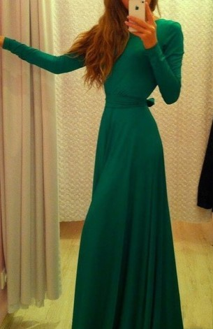 green long prom dress a-line long sleeve party evening dress,HH023