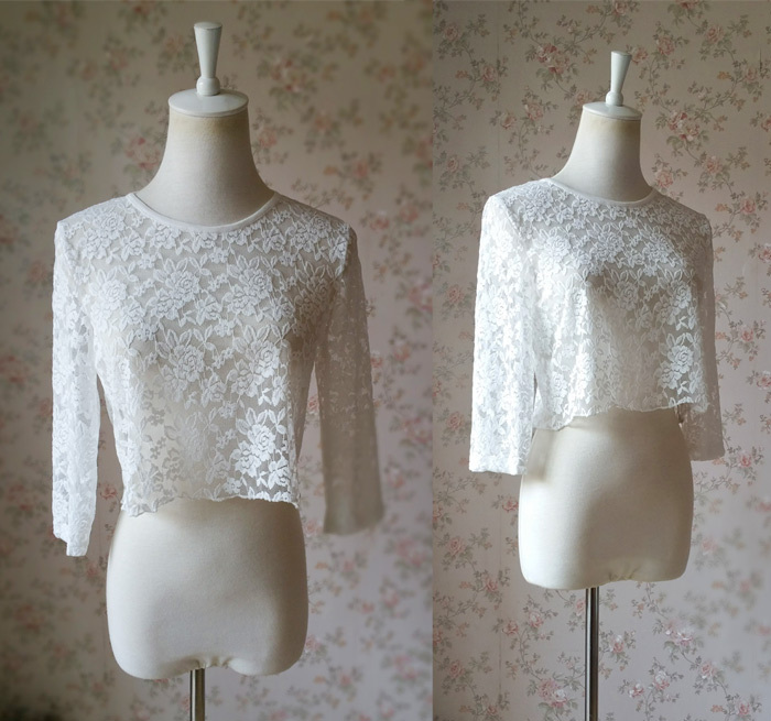 3 Quarters Sleeve White Lace Top Loose Fitting Bridesmaid Crop Lace Top