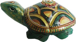 Turtles Aventurine Jade Stones Tortoise with Gold foil painting Fang Sui... - £35.36 GBP