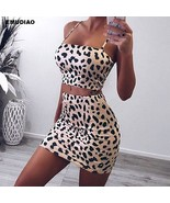Two Piece Set Leopard Print Spaghetti Set Women Fashion Sleeveless Top &... - $18.10