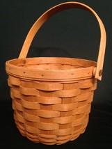"""Longaberger Vintage Wooden Basket 1990 8"""" Round Circular Warm Tone - $24.28"""