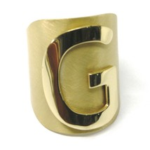 SOLID 925 STERLING SILVER BAND RING, BIG LETTER G, YELLOW SATIN FINISH, SIZABLE image 1