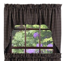 Olivia's Heartland country cabin primitive Cambridge Navy blue Swag curtains set - $39.95