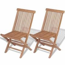vidaXL 2x Patio Teak Folding Chairs Wood Outdoor Bistro Garden Seating Seat - $92.99