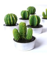 COCOMOON Cactus Tealight Candles, Artificial Succulents Decorative Tea L... - $10.76