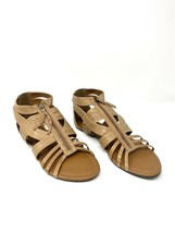 Steve Madden Gladiator Strappy Sandals, Zip Up, Tan, Size US Womens 10, Flats - $18.69