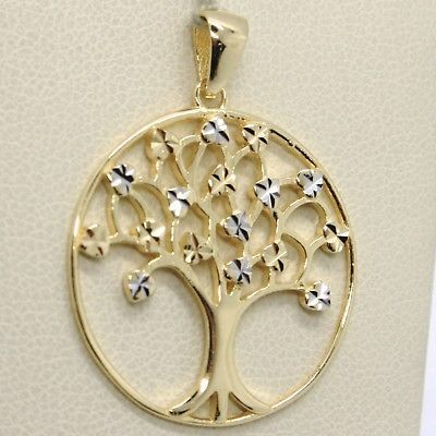SOLID 18K YELLOW & WHITE GOLD 26 MM TREE OF LIFE WORKED PENDANT, MADE IN ITALY