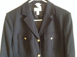 Talbots Navy Wool Blazer Lined Nautical Buttons Professional Career Sz 6 EUC image 12