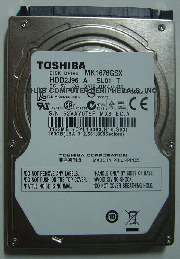 "New 160GB 2.5"" 9.5mm SATA Drive Toshiba MK1676GSX HDD2J96 Free USA Shipping"