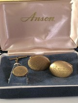 """Vintage Anson Gold Tone Cufflink and Tie Tack """"ODD COUPLE"""" With Box - $15.43"""