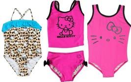 Sanrio Hello Kitty Swimsuit Toddler Girls Swimwear 1-Pc Tank or 2-Pc Tan... - $19.84
