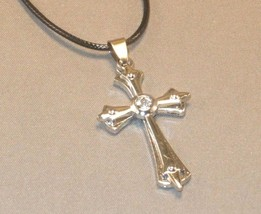CHRISTIAN PENDANT Necklace Silver RELIEF DESIGN with RHINESTONE Accent L... - $6.16