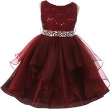 Flower Girl Dress Sequin Lace Top Ruffle Skirt Burgundy MBK 357 - $43.56+