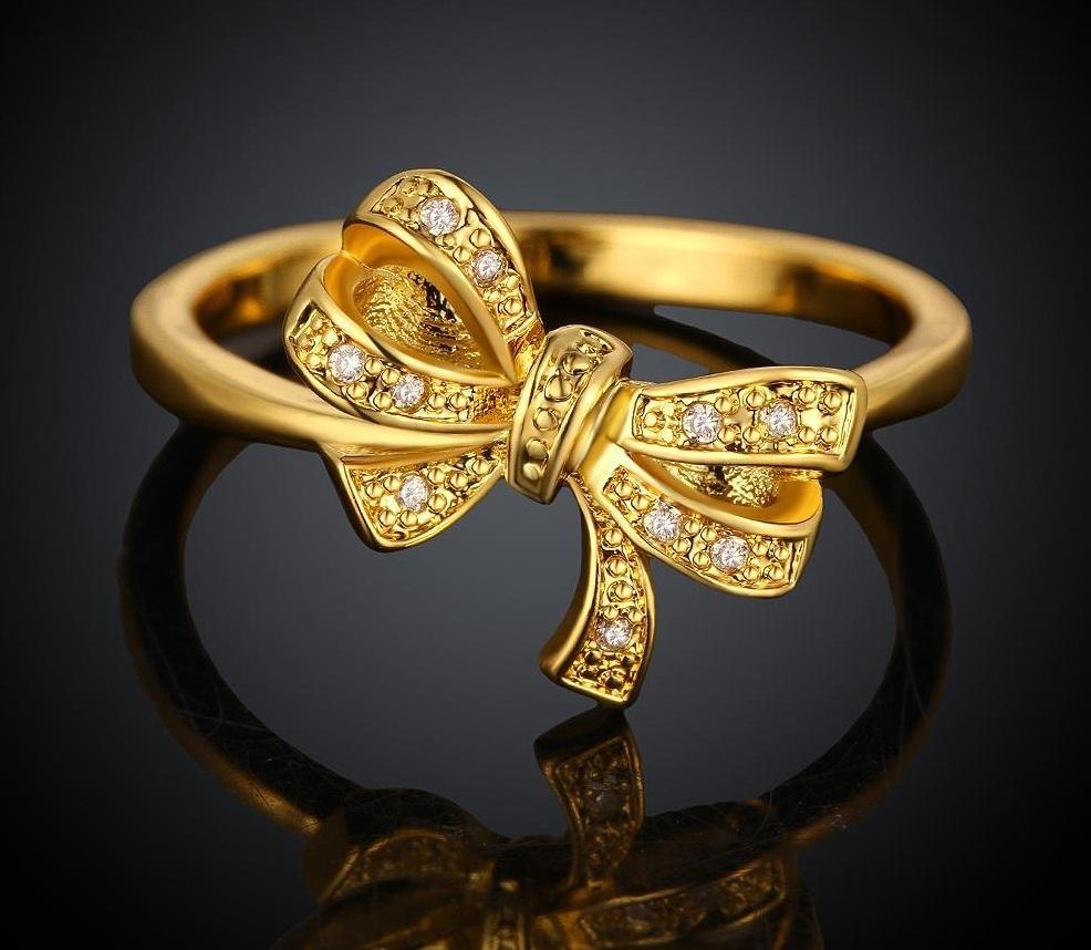 Kr040 a cute bow design 18k gold plated finger