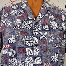 Royal Creations Hawaiian Aloha Shirt Mens XL Tapa Print Seashells Monstera - $28.04