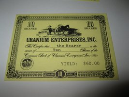 1964 Stocks & Bonds 3M Bookshelf Board Game Piece: Uranium enterprises 10 Shares - $1.00