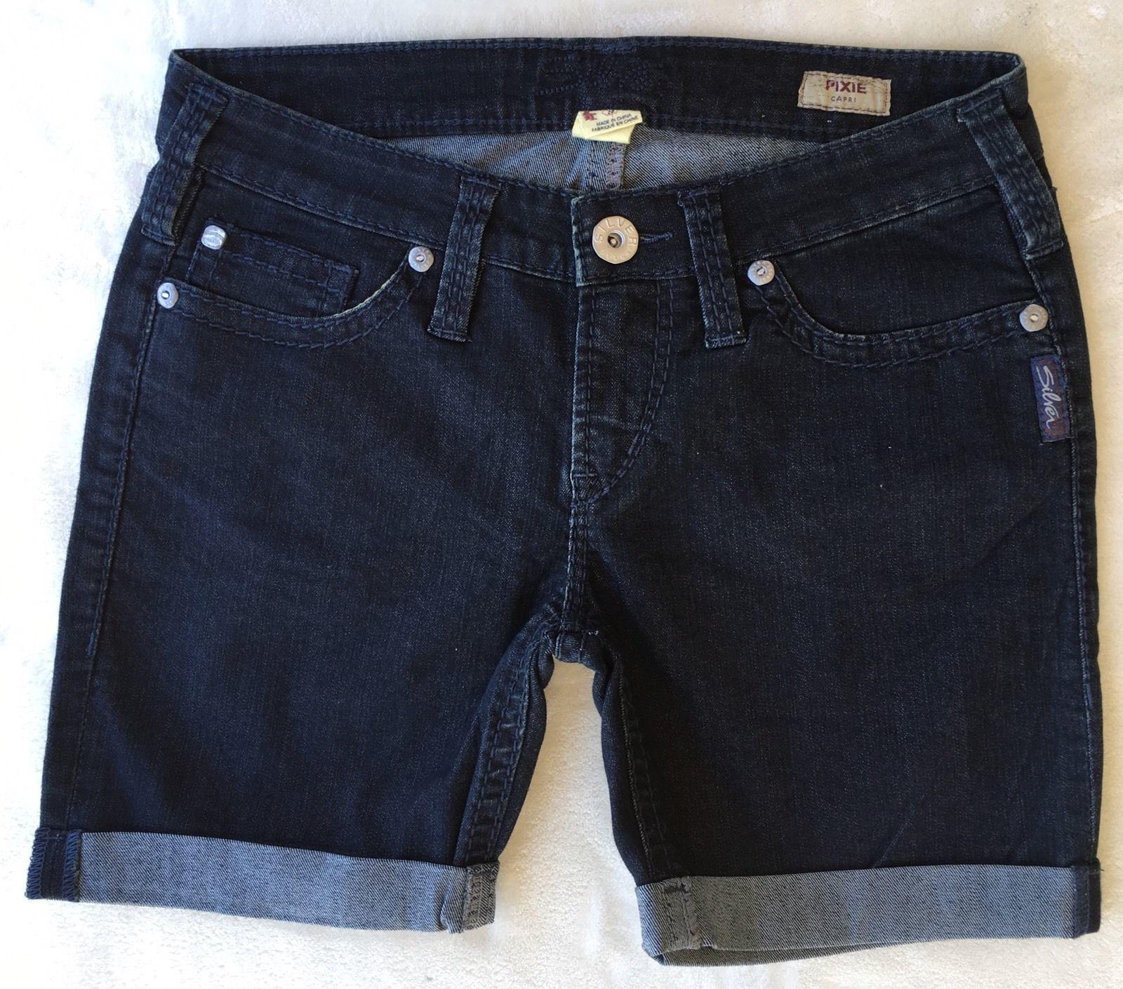 SILVER Jeans Sale Buckle Low Rise Pixie Dark Denim Stretch Jean Mid Shorts 28
