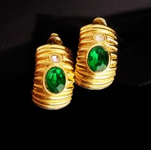 Vintage Givenchy earrings - Gold pierced hoop -  Couture Designer jewelr... - $85.00