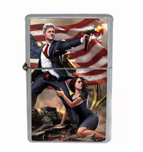 Clinton Action Hero Rs1 Flip Top Oil Lighter Wind Resistant With Case - $12.82