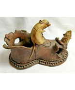 "Artist Pottery Mouse Mice Rat on Old Shoe Figurine Statue Brown 4"" Tall - $34.95"