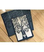 50pcs Navy Blue Tree Wedding Invitation,invitations,Laser Cut Wedding Cards - $53.80