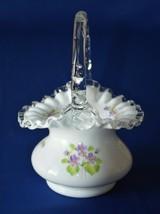 Fenton Silver Crest Violet In Snow Signed Trudy Berdine Basket #7436 - $34.65