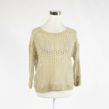Light beige gold cotton blend DKNY JEANS 3/4 sleeve crewneck sweater L - $12.49