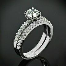 2.95Ct Round White Diamond Engagement Wedding Bridal Ring Set in 14K Whi... - £224.39 GBP