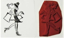 Unmounted Rubber Stamp of a Fashionable Woman