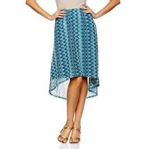 Slinky® Brand Charming Jamie Chevron Hi-Low Skirt Turquoise Multi XS NEW... - $13.83