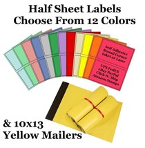 10x13 ( Yellow ) Poly Mailers + Colored Half Sheet Self Adhesive Shippin... - $2.99+