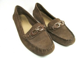 Coach Fortunata Womens Brown Suede Moccasin Loafers With Coach Logo Size US 7.5B - $47.53