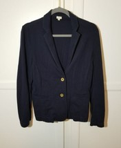 J.CREW Women's 100% Cotton Blazer Jacket Navy Blue Solid Gold Button Sz M - $39.06