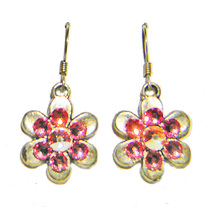 6 Petal Pewter Flower/Pink Crystal Drop Earrings - $12.99
