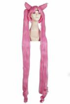 For Cosplay Sailor Moon Chibiusa Black Lady Pink Wig Long Straight Ponyt... - $37.61