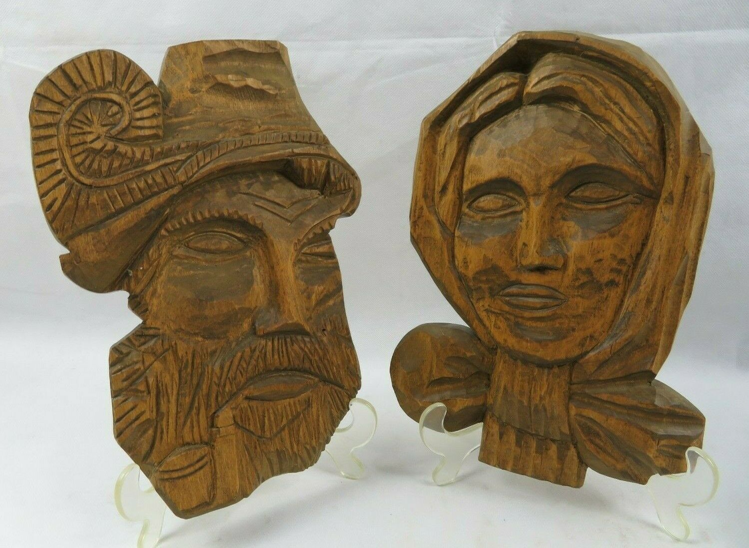 Vintage Pair Of Wood Carved Old Man Woman Figure Face Black Forest
