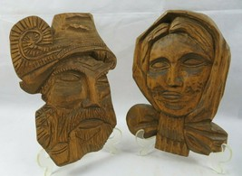 Vintage Pair Of Wood Carved Old Man Woman Figure Face Black Forest - $110.00