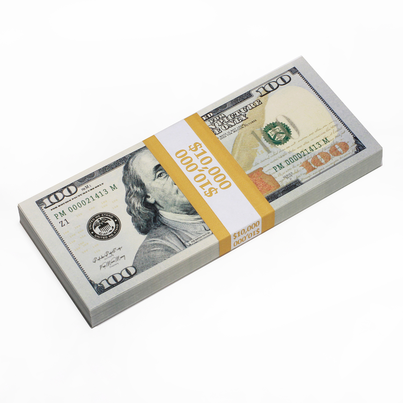 PROP MONEY Real Looking Updated New Style Copy $100s FULL PRINT Stack - Total $1