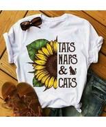 Sunflower Tats Naps & Cats Ladies T-Shirt Cotton S-3XL - $19.75+