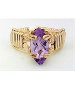 Faceted Amethyst Gold Wire Wrap Ring sz 7 - $43.00