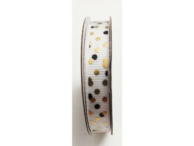 "Hobby Lobby Ribbon Boutique White/Gold/Black Ribbon, 3/8"" x 12 Ft"