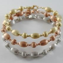 THREE 18K WHITE ROSE YELLOW GOLD BANGLE SATIN BRACELET BRACELETS MADE IN ITALY image 1
