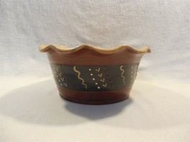 "1999 Eldreth Pottery Redware Decorated Ruffled Edge Bowl 7 3/4"" - $19.95"