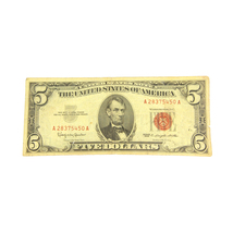 1963 $5 Five Dollar Red Seal Note - $25.00