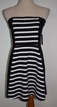 New Express Dress Large Black White Striped Cotton Mini - $25.23