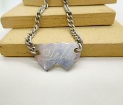 Vintage Eloxal Aluminum Engraved Stella Heart Plate Chain ID Bracelet AA10 - $14.44